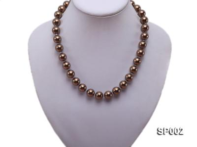 12mm bronze round seashell pearl necklace SP002 Image 5