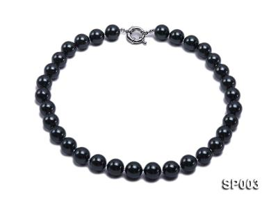 12mm shiny black round seashell pearl necklace SP003 Image 1