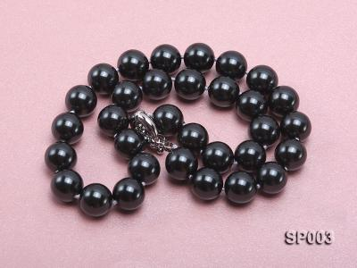 12mm shiny black round seashell pearl necklace SP003 Image 3