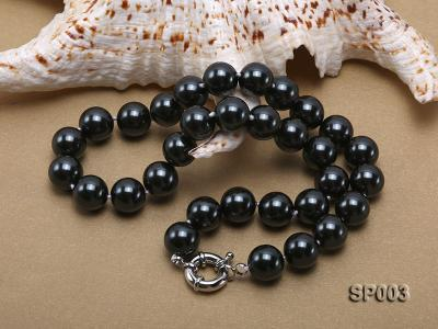 12mm shiny black round seashell pearl necklace SP003 Image 4