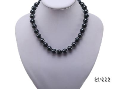 12mm shiny black round seashell pearl necklace SP003 Image 5