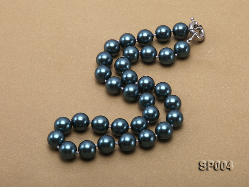 12mm peacock blue round seashell pearl necklace big Image 3
