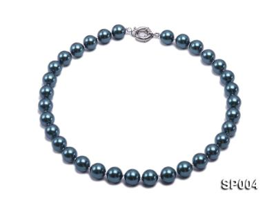 12mm peacock blue round seashell pearl necklace SP004 Image 1