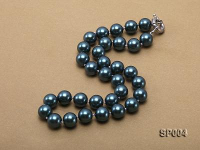 12mm peacock blue round seashell pearl necklace SP004 Image 3