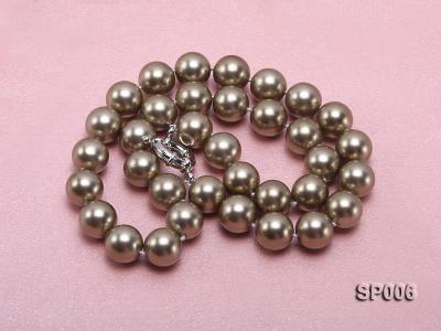 12mm bronze round seashell pearl necklace SP006 Image 4
