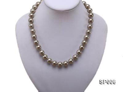 12mm bronze round seashell pearl necklace SP006 Image 5