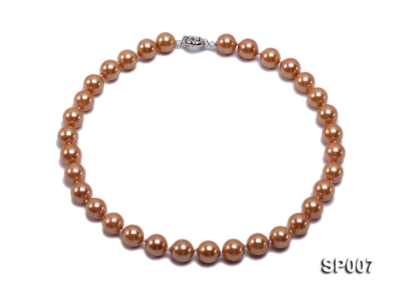 12mm reddish bronze round seashell pearl necklace big Image 1