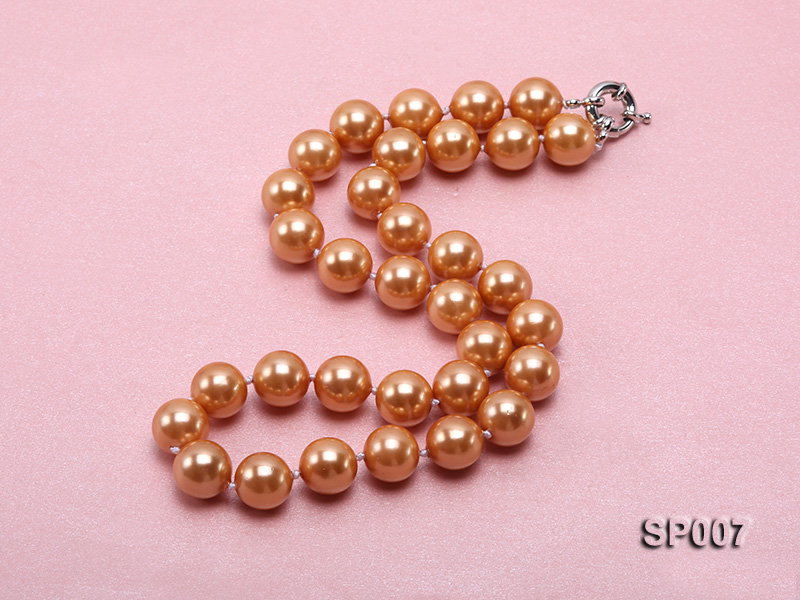 12mm reddish bronze round seashell pearl necklace big Image 2