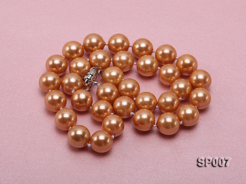 12mm reddish bronze round seashell pearl necklace big Image 3