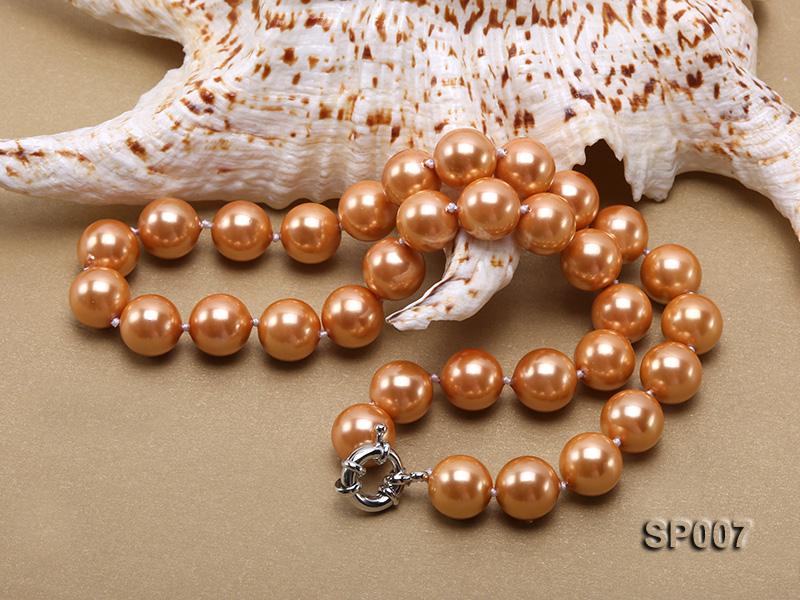12mm reddish bronze round seashell pearl necklace big Image 4