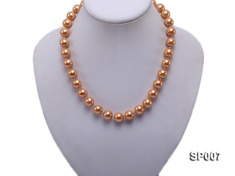 12mm reddish bronze round seashell pearl necklace big Image 5