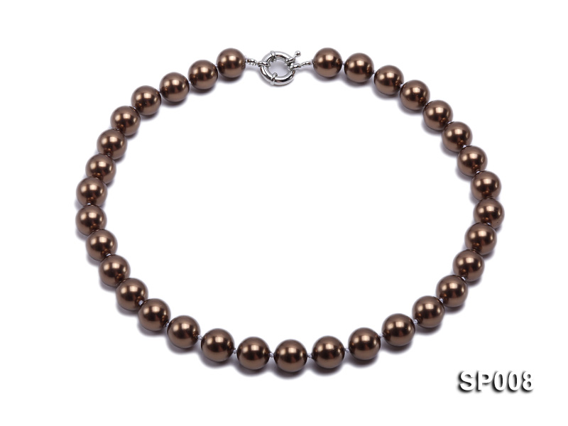 12mm coffee round seashell pearl necklace big Image 1
