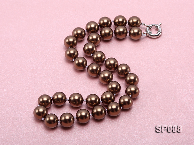 12mm coffee round seashell pearl necklace big Image 2