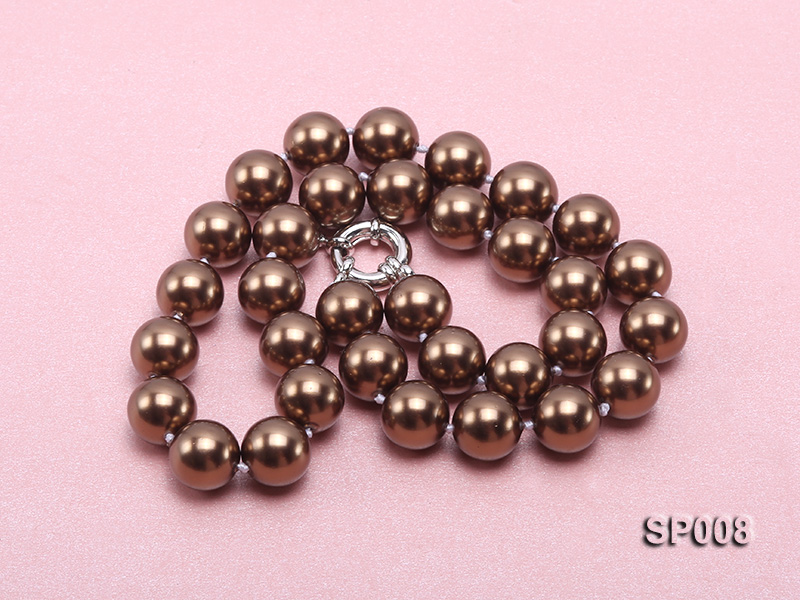 12mm coffee round seashell pearl necklace big Image 3
