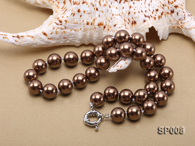 12mm coffee round seashell pearl necklace big Image 4