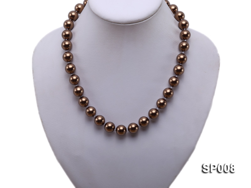12mm coffee round seashell pearl necklace big Image 5