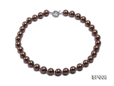 12mm coffee round seashell pearl necklace SP008 Image 1