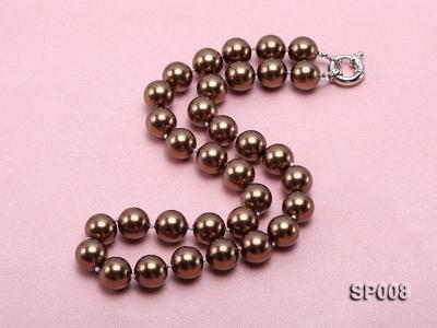 12mm coffee round seashell pearl necklace SP008 Image 2