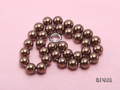 12mm coffee round seashell pearl necklace SP008 Image 3