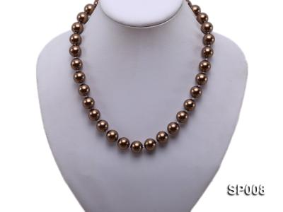 12mm coffee round seashell pearl necklace SP008 Image 5
