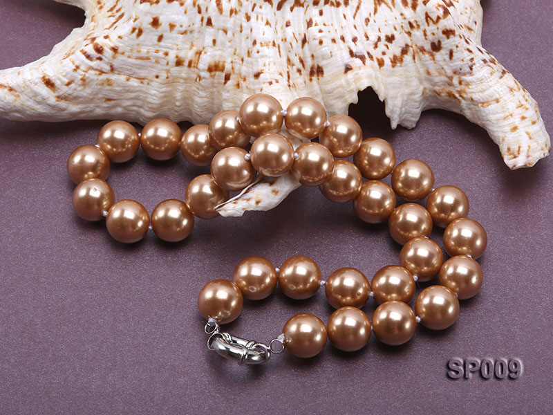 12mm light coffee round seashell pearl necklace big Image 4