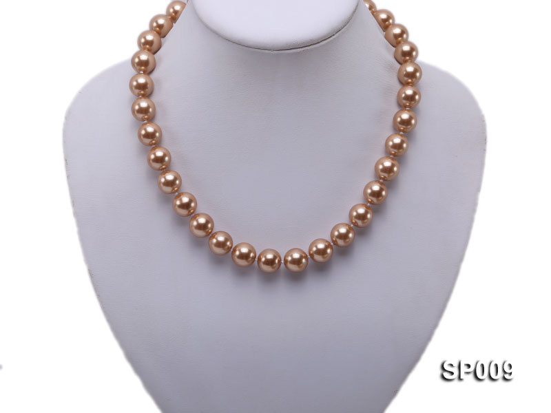 12mm light coffee round seashell pearl necklace big Image 5
