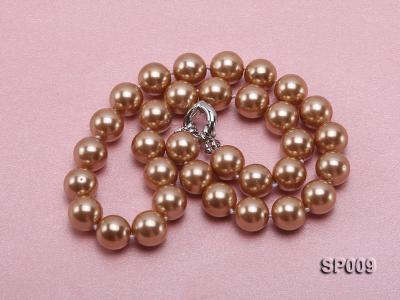 12mm light coffee round seashell pearl necklace SP009 Image 3