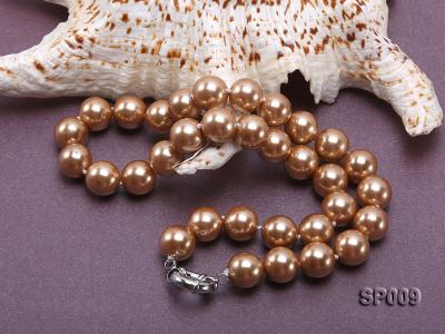 12mm light coffee round seashell pearl necklace SP009 Image 4