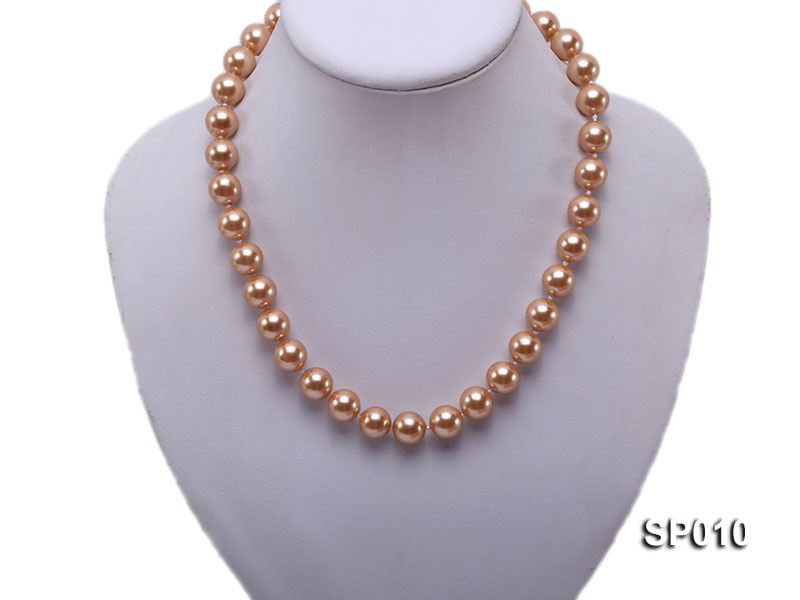 12mm golden round seashell pearl necklace big Image 2
