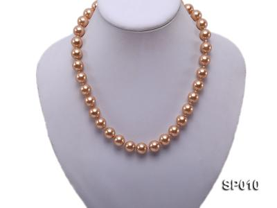 12mm golden round seashell pearl necklace SP010 Image 2