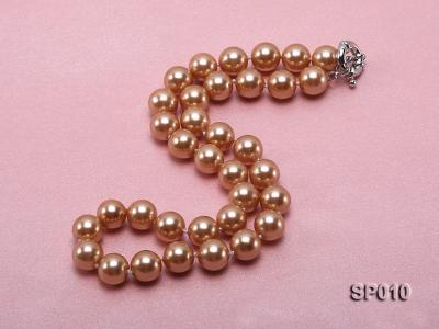12mm golden round seashell pearl necklace SP010 Image 3