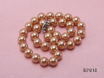12mm golden round seashell pearl necklace SP010 Image 4