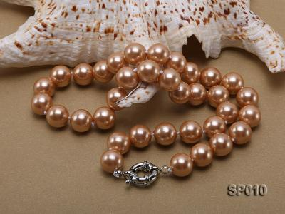 12mm golden round seashell pearl necklace SP010 Image 5