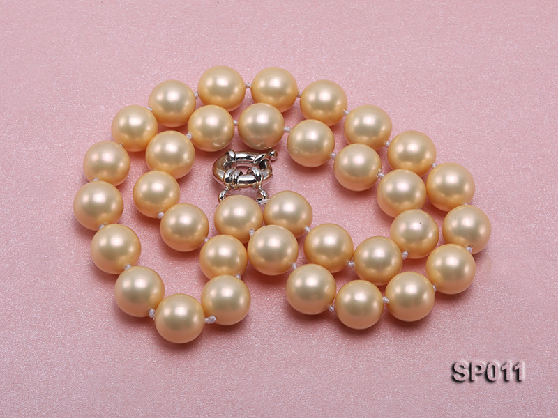12mm golden round seashell pearl necklace big Image 3