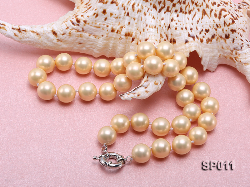 12mm golden round seashell pearl necklace big Image 4