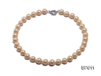 12mm golden round seashell pearl necklace SP011 Image 1