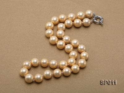 12mm golden round seashell pearl necklace SP011 Image 2