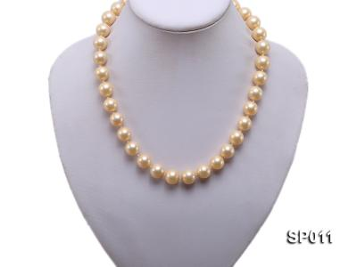 12mm golden round seashell pearl necklace SP011 Image 5