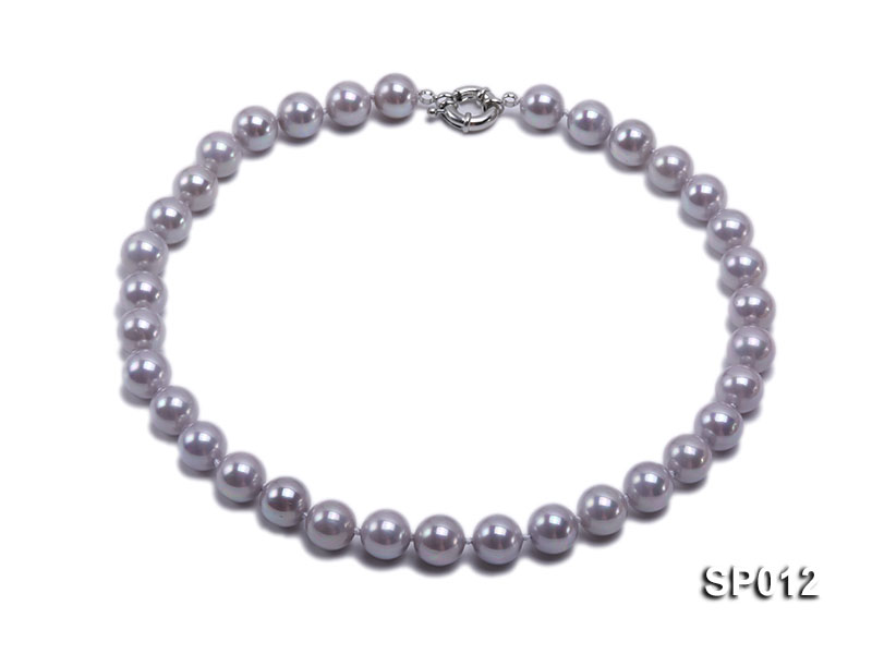 12mm greyish lavender round seashell pearl necklace big Image 1