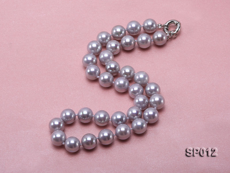 12mm greyish lavender round seashell pearl necklace big Image 2