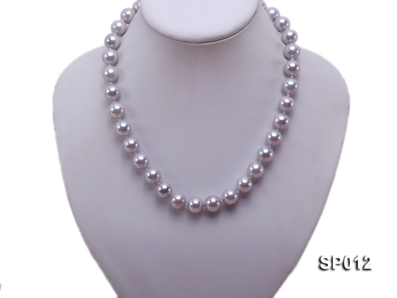 12mm greyish lavender round seashell pearl necklace big Image 5