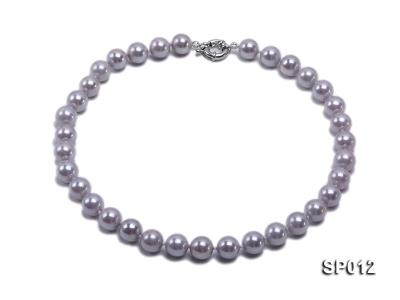 12mm greyish lavender round seashell pearl necklace SP012 Image 1