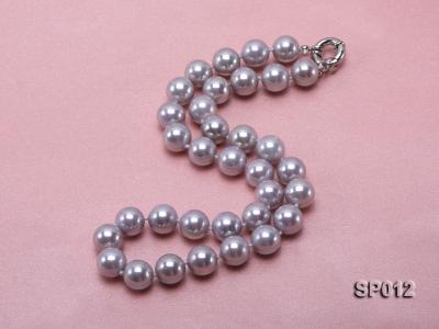 12mm greyish lavender round seashell pearl necklace SP012 Image 2