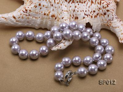 12mm greyish lavender round seashell pearl necklace SP012 Image 4