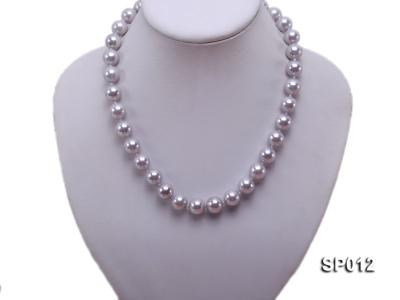 12mm greyish lavender round seashell pearl necklace SP012 Image 5