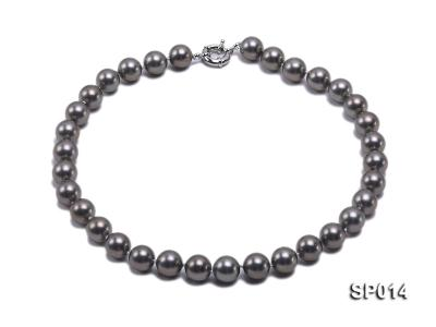 12mm dark grey round seashell pearl necklace SP014 Image 1