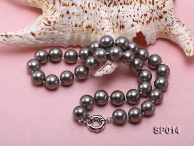 12mm dark grey round seashell pearl necklace SP014 Image 3