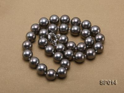 12mm dark grey round seashell pearl necklace SP014 Image 4