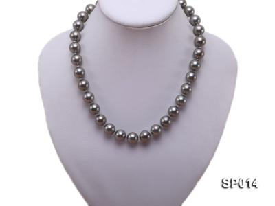 12mm dark grey round seashell pearl necklace SP014 Image 5