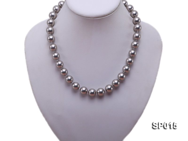 12mm grey round seashell pearl necklace big Image 5